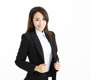 Glimlachende en Zekere jonge bedrijfsvrouw royalty-vrije stock afbeelding