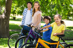 Glimlachende familie met hun fietsen Stock Afbeeldingen