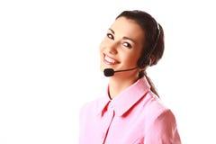 Glimlachende geïsoleerdet vrouw met hoofdtelefoons Stock Foto's