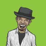 Glimlachende gebaarde zwarte mens in hoed Stock Fotografie