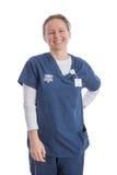 Glimlachende gelukkige medische medewerker in eenvormig stock afbeeldingen
