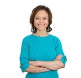 Glimlachende gelukkige vrouw royalty-vrije stock fotografie