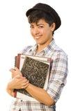 Glimlachende Gemengde Ras Vrouwelijke Student Holding Books Isolated Stock Foto's