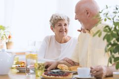 Glimlachende hogere vrouw en echtgenoot stock afbeelding