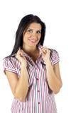 Glimlachende jonge en aantrekkelijke vrouw Stock Foto