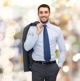 Glimlachende jonge en knappe zakenman Stock Foto's