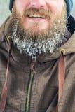 Glimlachende jonge mens met baard in ijskegels stock foto