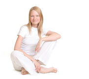 Glimlachende jonge vrouw Stock Foto's