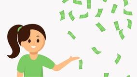 Glimlachende jonge vrouw die dalend geld richten Royalty-vrije Stock Afbeelding