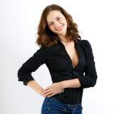 Glimlachende Jonge Vrouw gelukkige emotie Geïsoleerd op witte backgroun Royalty-vrije Stock Foto
