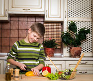 Glimlachende jongen die een salade in de keuken voorbereiden. Royalty-vrije Stock Foto's