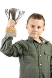 Glimlachende kampioen met zijn trofee Stock Afbeelding