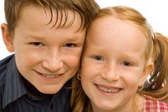 Glimlachende kinderenclose-up stock foto's