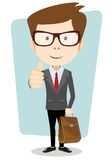 Glimlachende knipogende beeldverhaal bedrijfsmens in een jasje stock illustratie