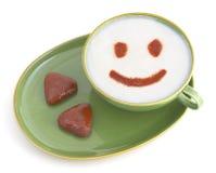 Glimlachende koffie Stock Afbeeldingen