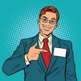 Glimlachende Manager met een naamkenteken stock illustratie