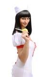 Glimlachende medische verpleegster met een bol van de dikke darm Stock Afbeelding