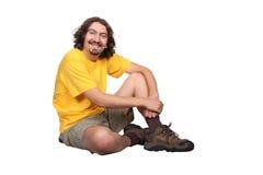 Glimlachende mens met baard Stock Afbeelding