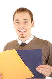 Glimlachende mens met documenten Royalty-vrije Stock Afbeeldingen