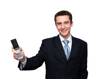 Glimlachende mens met mobiele telefoon Stock Foto's