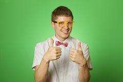 Glimlachende Mens twee duimen omhoog Stock Afbeelding
