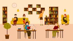 Glimlachende mensen die en bij openbare bibliotheek lezen bestuderen Leuke vlakke beeldverhaalmannen en vrouwen die bij bureaus e stock illustratie