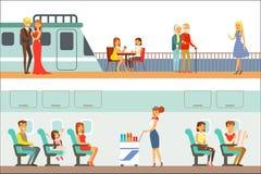Glimlachende Mensen die Verschillend Vervoer, Metro, Vliegtuig en Schipreeks Beeldverhaalscènes nemen met Gelukkige Reizigers vector illustratie