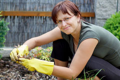 Glimlachende middenleeftijdsvrouw die in zonnige dag tuiniert royalty-vrije stock afbeelding