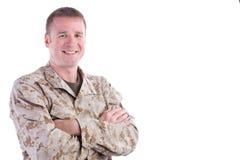 Glimlachende Militaire Mens Royalty-vrije Stock Foto's