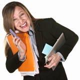 Glimlachende Multitasking Vrouw Stock Foto