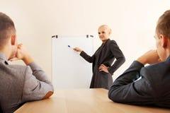 Glimlachende onderneemster die een grafiek voor haar collega's trekken op whiteboard Royalty-vrije Stock Foto