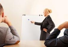 Glimlachende onderneemster die een grafiek voor haar collega's trekken op whiteboard Stock Fotografie