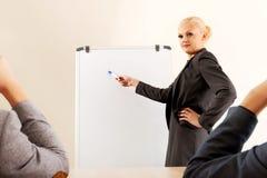 Glimlachende onderneemster die een grafiek voor haar collega's trekken op whiteboard Stock Afbeeldingen