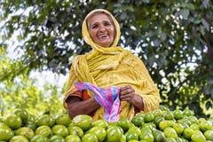 Glimlachende papajaverkoper, Sri Lanka Stock Fotografie