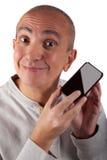 Glimlachende rijpe mens met telefoon Stock Afbeelding