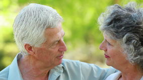 Glimlachende rijpe vrouw die aan haar echtgenoot luisteren stock videobeelden