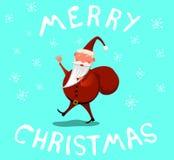 Glimlachende Santa Waving Wishing Merry Christmas stock illustratie