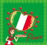 Glimlachende serveerster dienende pizza, menukaart Stock Fotografie