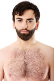 Glimlachende shirtless mens Royalty-vrije Stock Afbeeldingen