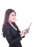Glimlachende slimme operater bedrijfsvrouw, concept usin Royalty-vrije Stock Afbeeldingen
