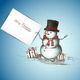 Glimlachende Sneeuwman stock fotografie