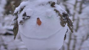 Glimlachende sneeuwman die zich in een bos in een blizzard bevinden stock videobeelden