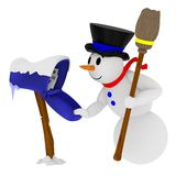 Glimlachende sneeuwman met brievenbus Stock Afbeeldingen