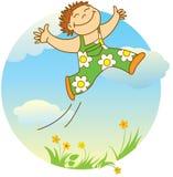 Glimlachende springende jongen royalty-vrije illustratie