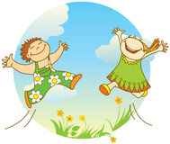 Glimlachende springende kinderen stock illustratie
