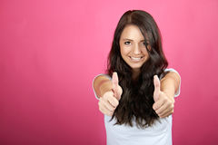 Glimlachende succesvolle vrouw Stock Foto
