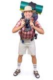 Glimlachende toerist stock foto