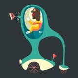 Glimlachende uitvinder en zijn three-wheeled voertuig Stock Afbeelding
