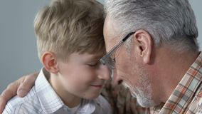 Glimlachende verouderde mens die kleinzoon met liefde, generatiesverbinding, nabijheid koesteren stock video