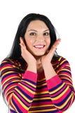 Glimlachende verraste vrouw Royalty-vrije Stock Afbeeldingen